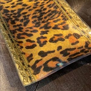 Accents - Leopard and Gold Glass Tray Dish look like Versace